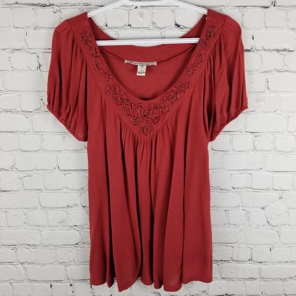 AMERICAN RAG   a-line beaded short sleeve blouse